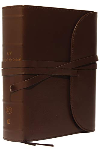 KJV, Journal the Word Bible, Large Print, Premium Leather, Brown, Red Letter: Reflect, Journal, or Create Art Next to Your Favorite Verses