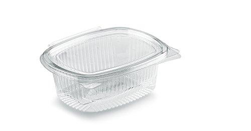 Vaschette ovali in OPS - cc 500 - Scatola da 100 pz vaschette trasparenti usa e getta con coperchio unito - Contenitori monouso di plastica con chiusura incernierata ed ermetica