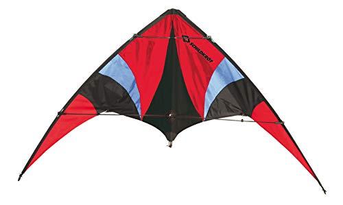 Schildkröt Stunt Kite 140, Cometa Acrobática de Dos Líneas, 10 años, 74x140cm, Incl. Cordones de Poliéster de 25 KP, 2x30m en Bobinadora, Escala Beaufort 2-5, 970440, Color Rojo, 140x75cm