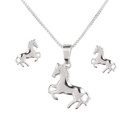 FIVE-D Anhänger mit Kette Kinderohrringe Pony Pferd 925 Silber im Schmucketui (Set Pferd - Ohrstecker)