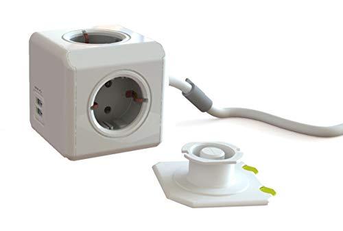 Dr. Bott Power-kubus Extended DuoUSB 3m, stekkerdoos met 4 stopcontacten en 2 USB-poorten, bureaumontagekit en 3 m kabel, grijs-wit