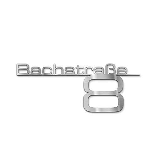 Metzler Design Hausnummernschild Türschild Namensplakette aus Edelstahl - mit Wunsch-Schriftzug Straßenname Hausnummer oder Name - Firmen-Schild - Anthrazit RAL 7016 - Edelstahl (650 mm)