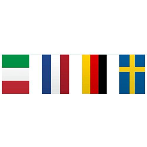 NET TOYS Wimpelkette Europa Girlande mit Landesfahnen 10 m EU Wimpelgirlande Länder Papiergirlande