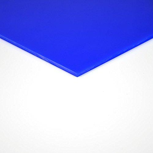 3 mm PLEXIGLAS® blau GS 5H51 GT, stark blickhemmend mit einer Lichtdurchlässigkeit von nur 5%, Maße: 100x70x0,3 cm