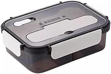 Nenka Fiambrera de 1000 ml, con 2 compartimentos, de polipropileno de alta calidad, con cuchara y tenedor, para escuela, trabajo, picnic, viajes