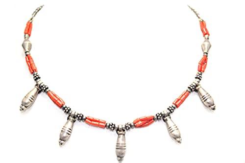 Rajasthan Gems Collar de mujer 925 plata esterlina perlas rojo coral piedras P 398