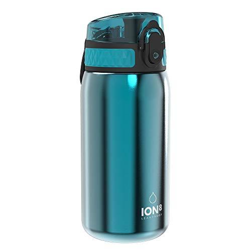 Ion8 Acero Inoxidable Botella Agua, Sin Fugas, Aqua, 400ml