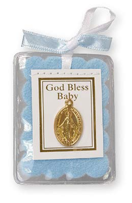 God Bless Baby Crib Miraculous Medal with 2cm Pewter Love Heart Token Brooch Pink Girl Blue Boy or White (Blue Boy Medal)
