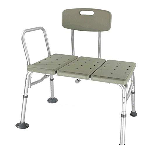 Kücheks 10 Höhenverstellbarer Badeduschstuhl & Alu-Badewanne Duschbank aus Aluminiumlegierung mit Armlehnen und Rückenlehne (grau)