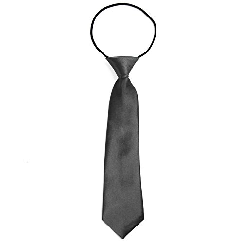 DonDon® Jungen Krawatte Kinder Krawatte im Seidenlook glänzend – 7,0 cm breit – mit elastischem Gummiband - Anthrazit
