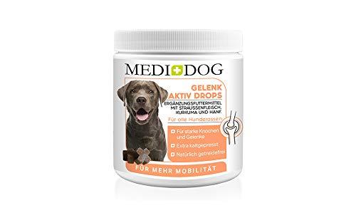 Medidog 400g Premium Gelenk Drops für Hunde, extra kaltgepresst und getreidefrei, für mehr Mobilität & Bewegungsfreude, mit Gelenkpulver und Gelenk-Tabletten, MSM, Kurkuma, Grünlippmuschel