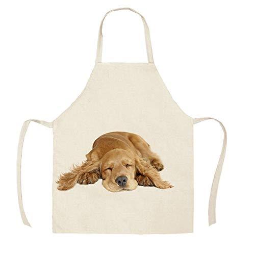 Masterchef 1 unid cocina delantal boceto con pug mascota perro gato impreso sin mangas de algodón de algodón delantales para hombres Mujeres Hogar herramientas de limpieza