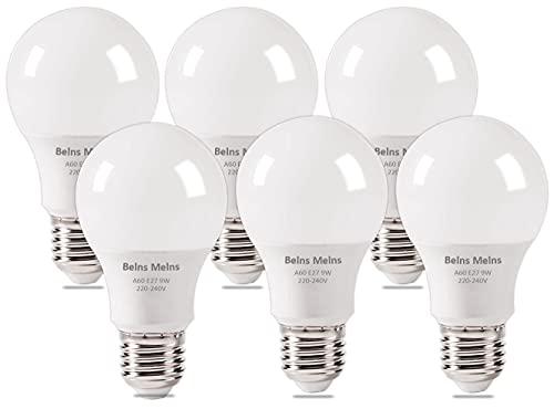 Ampoule LED E27 avec Culot à Vis, 9W (équivalent ampoule incandescente de 60W), Blanc Froid 6500K, Intensité Invariable - Lot de 6