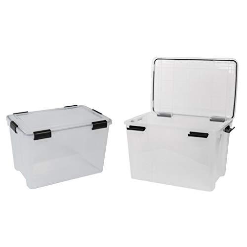 2 Stück XL Lagerbox aus transparentem Kunststoff mit Dichtungsring im Deckel für Nässe, Staub und Schmutz. Maße ca. 59 x 38,5 x 29 cm. 50 Liter Volumen. TOP QUALITÄT!