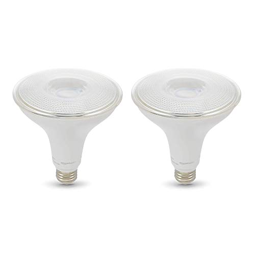Amazon Basics 120W Equivalent, Dusk to Dawn Sensor, Non-Dimmable, 10,000 Hour Lifetime, PAR38 LED Light Bulb   Daylight, 2-Pack