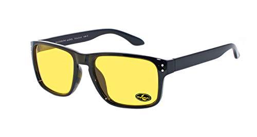 rainbow safety Auto Brille Nachtsichtbrille Nachtfahrbrille Kontrastbrille Blaulicht-Schutz Blendschutz Polarisierte Gläser RWN1PBLK (Schwarz)