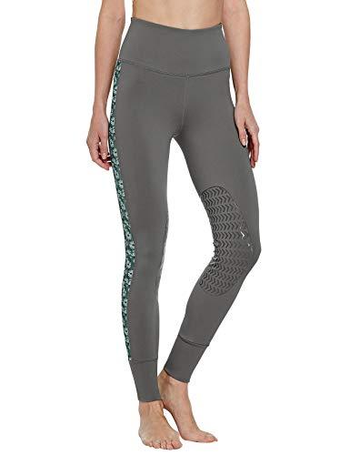FitsT4 Reithose Reitleggings Damen mit Silikon Kniebesatz und Gürteltasche, elastische REIT-Tights mit bedrucktem seitlichem MESH-Panel für Reitschule Reitsport