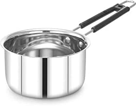 Khandekar Stainless Steel Induction Base Saucepan Without Cover, Soup Pot/Saucier, Milk Pan with Heat Resistant Handle - 2-Quart, Silver
