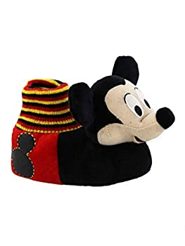 Disney Mickey Mouse Toddler Boys Plush 3D Mickey Head Sock Top Slippers  9-10 M US Toddler Black/Red
