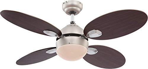 Deckenventilator mit Beleuchtung und Zugschalter Leise - Ventilator Decke mit Licht - 4 Flügel Beidseitig Montierbar - Deckenlampe mit Lüfter Schlafzimmer 3 Stufen - Durchmesser 106 cm