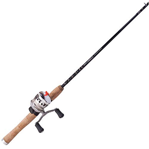 Zebco Omega Spincast Reel and Fishing Rod Combo, Natural Cork Rod Handle, Instant Anti-Reverse Fishing Reel, Silver