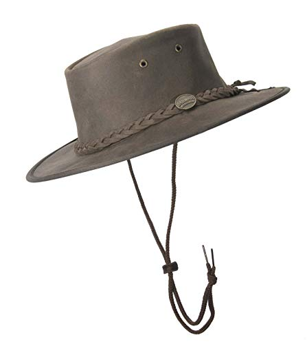 Barmah Australian Leather Outback Bush hoed met chincord. Chocolade