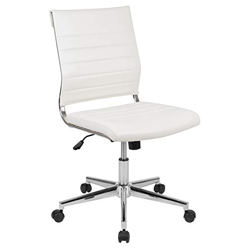 Flash Furniture Mid-Back Armless White LeatherSoft Contemporary Ribbed Executive Swivel Office Chair, BIFMA Certified