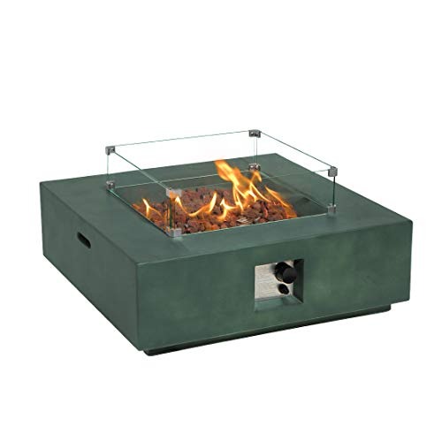 COSIEST Outdoor Propane Fire Pit Coffee Table w Greyish-Green Square Faux Stone 35-inch Planter Base, 50,000 BTU Stainless Steel Burner,Wind Guard, Tank Outside and Waterproof Cover