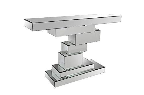 SalesFever Konsolentisch Amelia | Flurtisch aus MDF Holz | Oberflächen verspiegelt aus Glas | Beistelltisch rechteckig | Silber-farbig | Futuristisches Design
