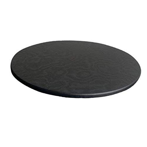 F Fityle Fitted Round Tablecloth Tablecover Elastic Edged Table Cover fits 35 inch Dining or Game Tables, Solid Color - Black