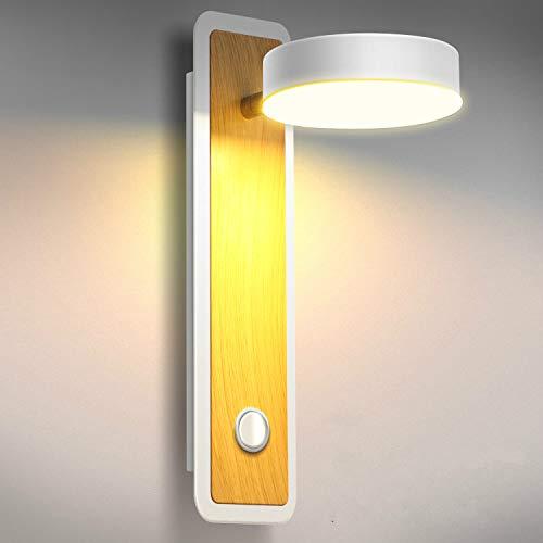 Lightess Apliques de Pared LED Interior 12W Regulable 3 Temperatura de Color Lámpara de Pared Dormitorio Luz Moderna Iluminación Madera para Escalera, Pasillo, Rotación de 360°, Giro de 180°, Blanco
