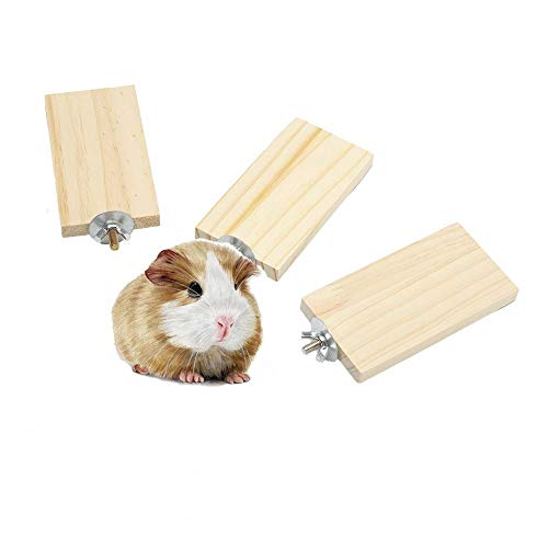 GNB PET 3 Pcs Natural Wood Hamster Stand Platform for Hamster, Chinchilla, Mouse, Rat, Gerbil, Dwarf Hamster, Wooden Small Animal Platform Springboard for Cage, with 304 Stainless Steel Washers