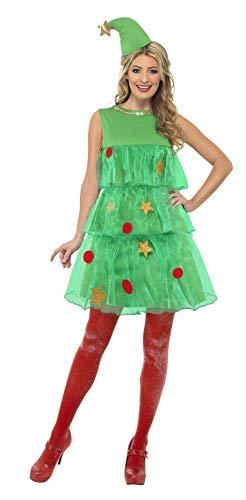 Smiffy's Smiffys-24331L Disfraz de árbol de Navidad, con vestido y gorro, color verde, L-EU Tamaño 44-46 24331L