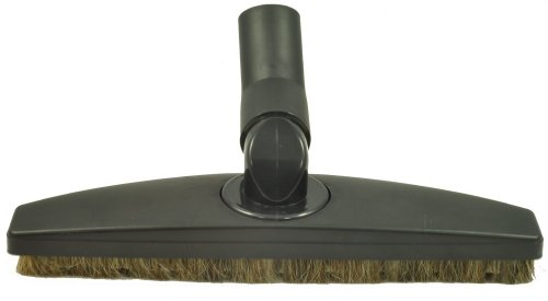 """Floor Brush for Miele Canister Vacuum Cleaner Floor Tool Attachment. 35MM Spring Elbow - Side to Side Rotation - Up Down Swivel - Black 12"""" Wide - Horsehair Bristles"""