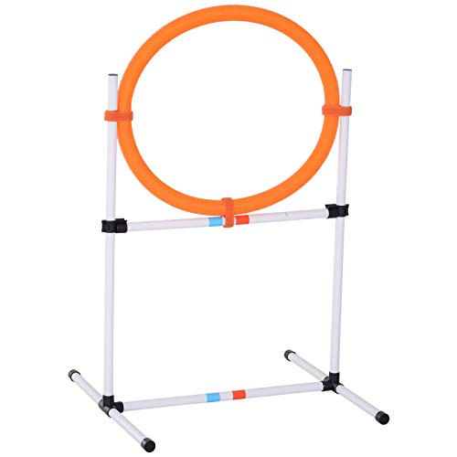 PawHut 2-in-1 Dog Obstacle Training Agility Equipment Tire Jump Ring/Hurdle Bar