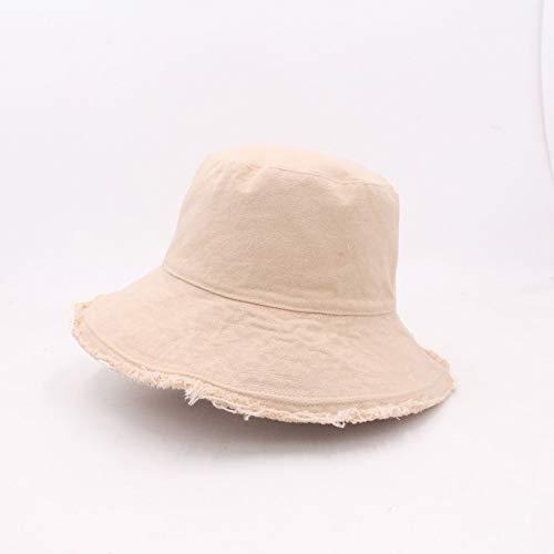 Sombrero de Pescador japonés Crudo para Mujer, Visera de Primavera y Verano con Bordes, Sombrero Lavable de Tendencia Lavable para Todos los Partidos, versión Coreana Masculina