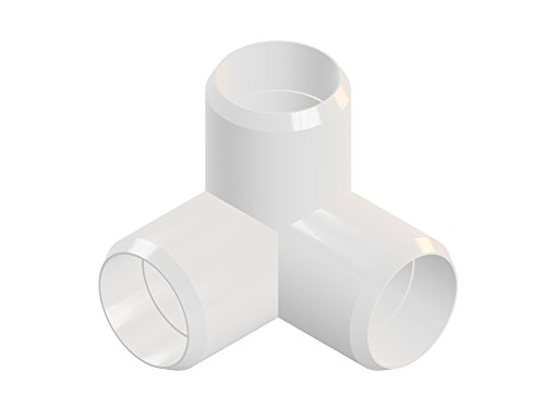 3way 1 1/4inch PVC Elbow Corner Side Outlet Tee Fitting, Furniture Grade, White [Pack of 8]