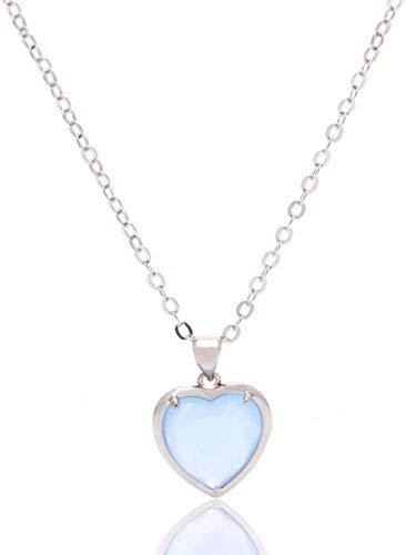 NC188 Collares Pendientes de Piedra para Mujer Borde de Plata Envuelto Corazón de Piedras Preciosas Naturales Collar Colgante de Cristal Azul pálido con Cadena de Plata Mujeres