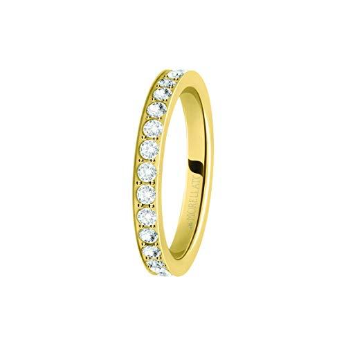 Morellato Anello da donna, Collezione Love Rings, in acciaio, PVD oro giallo e cristalli - SNA39014
