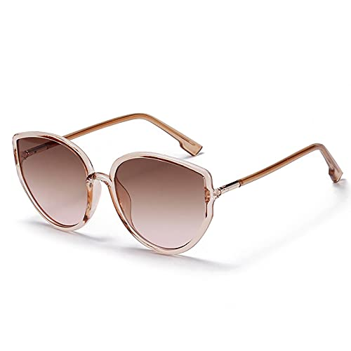 Gafas De Sol Gafas De Sol De Diseñador De Gran Tamaño para Mujer, Gafas De Sol con Gradiente De Ojo De Gato, Estilo De Moda Rosa, Marrón
