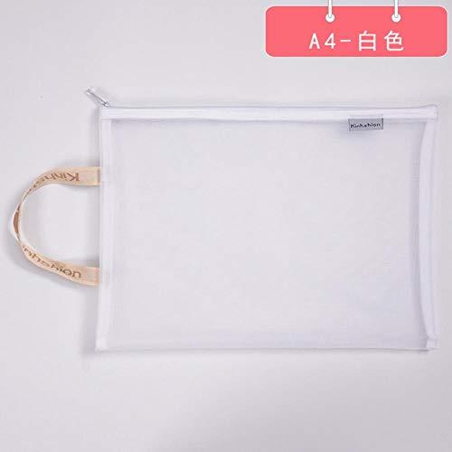 Juecan A4 Einfarbige Dokumententasche A5 Transparent Griding Zip Aufbewahrungsbeutel Stiftablage Produkte Taschenordner Schul- und Büromaterial, A4-Weiß