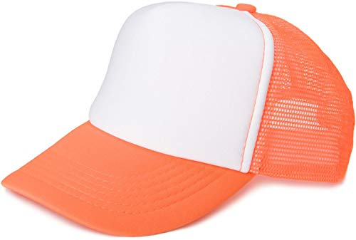 styleBREAKER Gorra de Malla de 5 Paneles, Gorra de Camionero, Gorra de béisbol, Ajustable, Unisex 04023007, Color:Blanco-Naranja neón