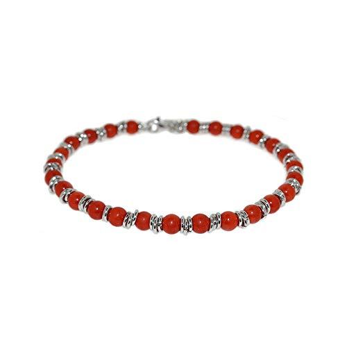 EveryDayGioielli Bracciale in argento 925 con sfere di corallo rosso chiusura a moschettone lungo cm 19 rodiato in oro bianco gioiello prodotto in Italia