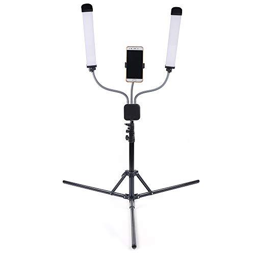 ROMYIX Luz de llenado de doble brazo en directo, soporte de luz para luz de llenado selfie en directo, temperatura de color 3000K-6000K, intensidad regulable continua, conexión USB