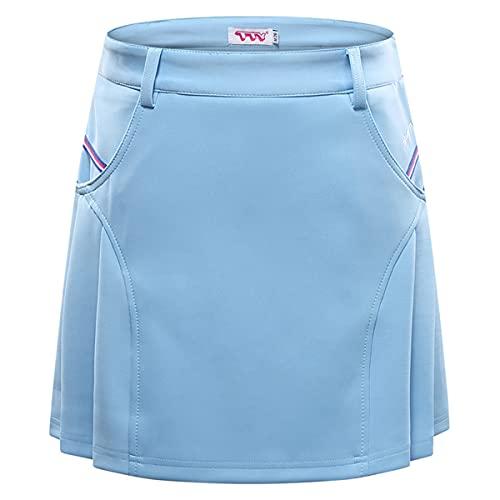 LGQ Falda De Golf para Mujer con Pantalones Cortos Falda Plisada De Doble Bolsillo Adecuada para Bádminton Tenis Falda Deportiva Ligera,Sky Blue,XL