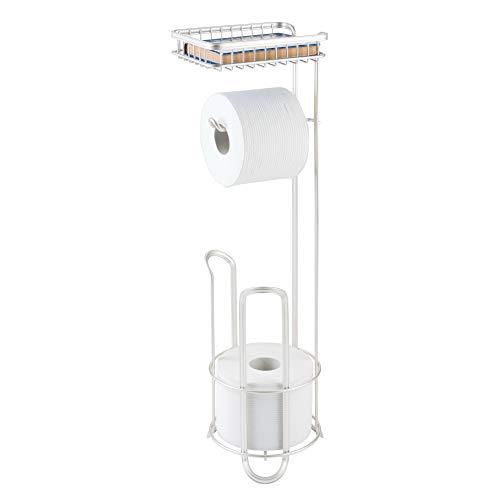mDesign Toilettenpapierhalter ohne Bohren – Klorollenhalter fürs Badezimmer - zeitloser Papierrollenhalter aus Metall – mattweiß