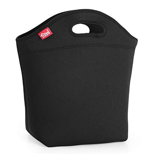 "Medium Lunch Bag Wide Bottom Black Lunch Box for Men 12"" x5.5"" x11"" Women Neoprene Insulated Lunch Tote Bag Reusable Lunch Holder for Adult Suitable for Work School Outdoor Travel"