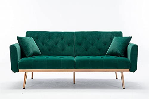 68' Green Velvet Couch, Tufted Loveseat Sofa, Convertible Futon Sofa Bed, Accent Sofa Recliner, Golden Metal Legs, 2 Couch Pillows, Mid Century Modern Sofas for Home Living Room Bedroom