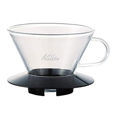 Kalita 05039 Glass Wace Dripper 185 Black Coffee Dipper, 82 mm/3.2 , Clear