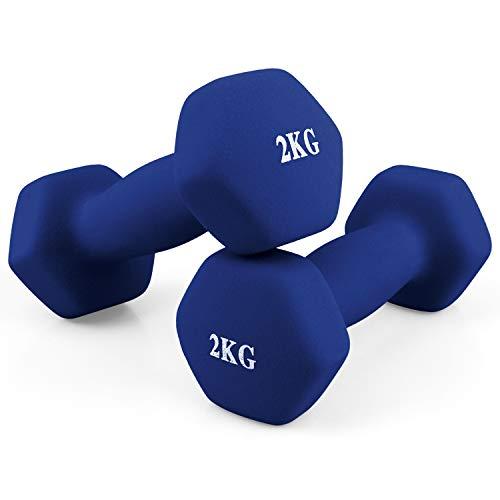 MICOE ダンベル 2個セット 1�s 1.5�s 2�s 3�s 4�s 5�s 筋トレ ダイエット 鉄アレイ てつあれい (2kg×2個セット /ブルー) MC-022